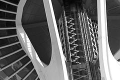 Seattle Space Needle Detail (sswj) Tags: detail abstraction abstractreality spaceneedle seattle washingtonstate composition availablelight existinglight blackandwhitebw dslr fullframe nikon d600 nikkor28300mm scottjohnson