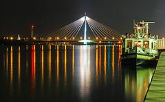 Danube calling (werner boehm *) Tags: wernerboehm danube donau apiegelung reflection boat bridge suspensionbridge hängebrücke