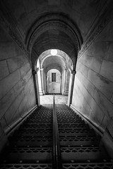 NY Public Library: Staircase Noir (Kenneth Laurence Neal) Tags: newyorkcity newyorkpubliclibrary architecture libraries noir monochrome blackandwhite nikon shadows staircase urbanarchitecture mysterious lowlight lowkey wideangle wideanglelens