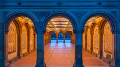 The Arcade (Amar Raavi) Tags: bethesdaterrace terrace ceiling frame bluehour dawn tiles mintontile centralpark iconic perspective nyc newyorkcity newyork usa architecture city carvings art park outdoors morning lights red orange bethesdafountain angelofwaters