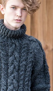 Boyfriends charcoal cabled wool sweater