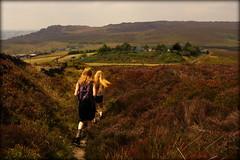 Golden Ones (Simon Corble) Tags: roaches ramshaw staffs peak peakdistrict staffordshiremoorlands golden blonde girls hiking walk walkers moorland moor moors heather summer ramble