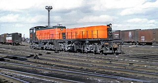 New Haven Railroad ALCO S-2 DEY-5 class # 0609 switcher & Slug DT-1 is seen in the Yard at Hartford, Connecticut, ca mid 1950's