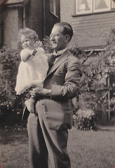 Bill with One Year Old 1930's (Bury Gardener) Tags: bw blackandwhite oldies old snaps scans people folks england uk british britain vintage