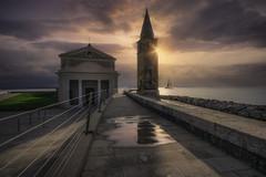 From this moment on(Caorle VE) (Maurizio Fecchio) Tags: church lights sunrise sun morning sea clouds sand seascape sky italia italy caorle