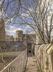 York:  City Walls at Bootham (jack cousin) Tags: nikond610 on1photos york uk yorkshire england wall walls historic history ancientwalls citywalls medieval landscape landmark heritage architecture parapet arrowslits tree bare bough twigs sky bluesky cloud outdoor nature path walk roof building railings spring windowdoorway chimney brick brickwork stone stonework water puddle tiles gutter growth newgrowth buds budding touristattraction tourism pavingstones
