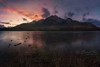 Sunset on Pyramid Lake, Jasper National Park,Canadian Rocky Mountains Alberta, Canada.