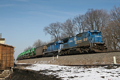 Running Like a Deere (jwjordak) Tags: tractors milepost c408 building unittrain snow cr conrail train macedonia ohio unitedstates us ns norfolksouthern 8304
