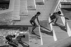 (leo1616) Tags: bw street boys kids water barcelona summer heat