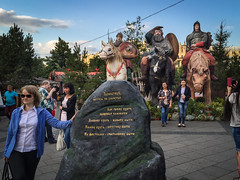 Kitsch à la russe. The three Bogatyrs (Tigra K) Tags: moskva moscow russia ru 2016 city funny horse iphone person sculpture sign statue tree