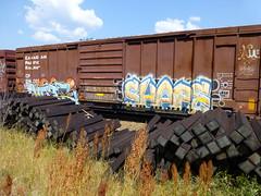 Rail Ties and SHAPE (arrowlakelass) Tags: graffiti train freight boxcars steel paint p1190104