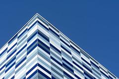 Building with blue panels (Jan van der Wolf) Tags: map176199v blue blauw building architecture architectuur facade panels gevel gebouw geometric geometry geometrisch geometrie