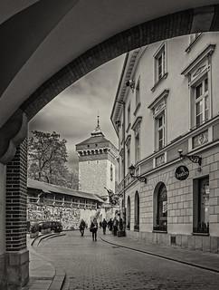 Looking Towards The Florian Gate (Krakow Old Town) (Monochrome - Sepia) (Olympus OM-D EM1-II & M.Zuiko 12-100mm f4 Pro Travel-Zoom)
