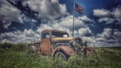 american pride....(HTT) (BillsExplorations) Tags: tavern display flag oldtruck rust field old vintage truckthursday classic abandoned decay american pride junctionhousetavern wisconsin monroe