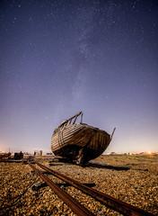 Decaying in the dark (grbush) Tags: dungeness kent boat decay derelict abandoned night coast coastline fishingboat rails stars milkyway sonyilce7 tokinaatx116prodxaf1116mmf28 dark astrophotography