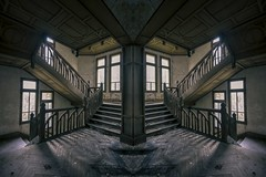 'If the elevator to success is broken, take the stairs'....[Explore] (Taken By Me Photography) Tags: abandoned adventure building closed creepy centre corridor derelict decay dark wall wwwtakenbymephotographycouk window walls explore exploring empty eerie forgotten floor mirror image house hall home left lost nikon neglect ruin shut stairs steps takenbyme takenbymephotography urbex urban ue