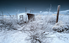 5th Street (Adventures in Infrared) (Torsten Reimer) Tags: coloradodesert olympusepl5 sand powerline northamerica himmel shrubs clouds california unitedstatesofamerica abandoned saltonsea bombaybeach ruins sky infrared verlassen infrarot wolken usa calipatria unitedstates us