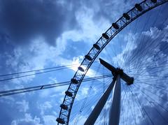 Bright eye (jeffhob) Tags: london eye south bank blue sky cloudy sun shining
