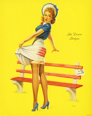 Sit Down Stripes by Art Frahm, 1940s (gameraboy) Tags: painting art illustration vintage sitdownstripes artfrahm pinup pinupart legs stockings thighhighs 1940s