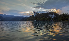 bled castle (LaCiz) Tags: bled castle lake slovenia sunset sky oldstable abandoned antique water reflection red sun naturallight gold