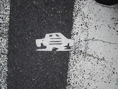 Short Stikman White Robot Tile Tmes Square NYC 7065 (Brechtbug) Tags: a return stikensian era white robot tile stikman broadway times square nyc street art graffiti tag tagging stencil cut out toynbee stickman asphalt figurative school flat action figures new york city 08102018 cross walk smoke 2018 stik man men curious streets summer heat august