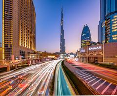 Lighttrails to Burj Khalifa (Siebring Photo Art) Tags: burjkhalifa dubai dubaimall dubaiskyline emirates uae lighttrails skyline sunset traffic verenigdearabischeemiraten ae