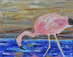 Flamingo, Feeding - Kim (BKHagar *Kim*) Tags: bkhagar art artwork artday painting paint acrylic flamingo bird pink feeding eating water skinny legs