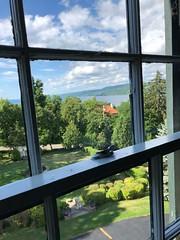 "A View to Seneca Lake (Herculeus.) Tags: shoreline ""watkinsglen"" afternoon profile iphone8 window garden clouds trees ""senecalake"" outdoors outdoor outside ny lakes lake 5photosaday"