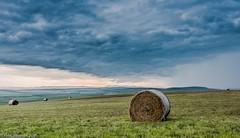 Storm passing through west of Nanton, Alberta (higgins3006) Tags: summer sky ruralalberta landscape bales farm alberta clouds storm nikon810