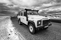 (2nd Sight Photography) Tags: defender landrover fuerteventura canaryisland safari openroad canon 400d 1018mm wideangle 2ndsightphotography eos blackandwhite bnw monochrome clouds sand dunes