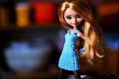 """Call Me The Breeze"" (jessandgrace) Tags: doll portrait colorimage colors bokeh blue dress crochet handmade dollclothes figure face eyes greeneyed ashlynnella hair ginger blonde golden everafterhigh eah pretty beauty glamour cute indoor"