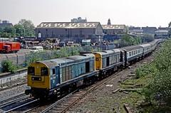 Ryecroft Junction, Walsall, May 1990 (David Rostance) Tags: 20143 20130 class20 englishelectric ryecroft ironbridgerambler pathfindertours walsall