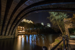 A View From Under the Bridge (huw_thomas06) Tags: durham river wear riverbank trees bridge stone architecture old ancient city night nightscape landscape cityscape path track tree england uk landmark cathedral church castle history historic flow stream light lights glow evening dark reflection famous building background town home tourist tourism travel walk arch medieval water urban europe view dusk beautiful nikon d750 tokina 1628 f28