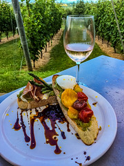 2018 - photo 205 of 365 - avocado toast at Luckett's winery (old_hippy1948) Tags: food avocado peppers tomatoes bread asparagus wine proscuitto