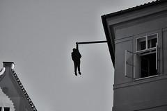 'Hanging Out (Lou-bella) Tags: cemy sculpture art sel18105g a6000 ilce6000 blackwhite man prague city street