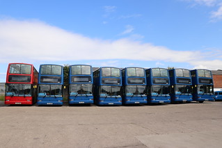 Line up of Plaxton President, Volvo at Kingsley's Coaches, Birtley.
