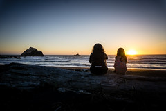Mother and Daughter (7austins) Tags: sunset pacific ocean silhouette mother daughter child thought