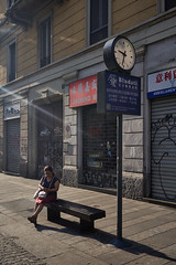 Jun 22, 2018 (pavelkhurlapov) Tags: graffiti clock woman bench shops building light shadows morning streetphotography chinatown sign