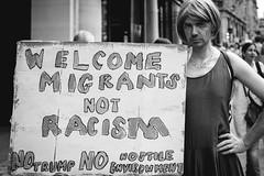 Just Say No (Sean Batten) Tags: london england unitedkingdom gb europe blackandwhite bw streetphotography street protest protester protestor protestmarch person sign banner nikon df 50mm city urban regentst