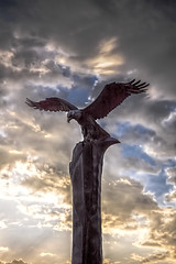 Magestic bronze eagle sculpture. (Gary.Lamprecht) Tags: canont1i lacrosse eagle sculpture topaz wisconsin