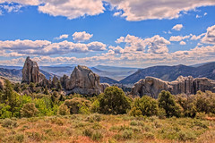 Panoramic View Of Morning Glory Spire  and Anteater (http://fineartamerica.com/profiles/robert-bales.ht) Tags: cityofrocks facityrocks facebook forupload photouploads places projects idaho national scenic landscape mountain west park rocks wilderness rocky granite rockclimbing stone spires western terrain scrubland vista orgeontrail californiatrail pinnacles reserve petroglyphs oregontrail sagebrush idaholandscape scenery artifacts trail valley vacation monument rock ropes frontier city california climbing desert erosion landmark america castle natural robertbales anteater pano panoramic