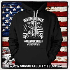With Guns we are Citizens. Gun Rights. T-Shirt. (Sons of Liberty Tees) Tags: 2a 2ndamendment americanpride apparel clothing comeandtakeit country countryboy countrylife happy instagood instastyle liberallunacy menfashion mensfashion mensstyle menstyle menswear molonlabe patriot patriots pc politicalcorrectness progun sonsoflibertytees southern style tshirts teaparty threepercent