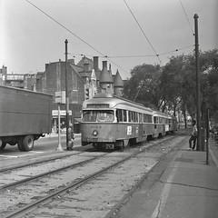 MBTAPCC 3154 BeaconSt CoolidgeCorner 9-7-1971 (ironmike9) Tags: trolley tram streetcar pcc transit publictransit rail track lightrail mbta bostonma