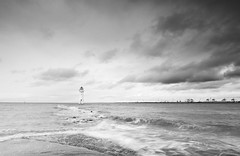 Perch rock lighthouse (Alf Branch) Tags: sea seaside seawaves seascape seashore water waves wirral newbrighton perchrock wave irishsea mersey rivermersey mono blackandwhite beach alfbranch olympus omd olympusomdem5mkii leicadg818mmf284
