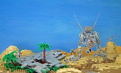 Oasis (Rogue Bantha) Tags: legospace lego oasis mecha mech spaceship crash robot