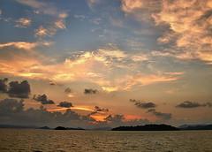 The End Of A Lovely Day (sunbeem - Irene) Tags: sunset holiday thailand amazing sea boat catamaran jamesbondisland trip clouds plane islands andamansea sky island
