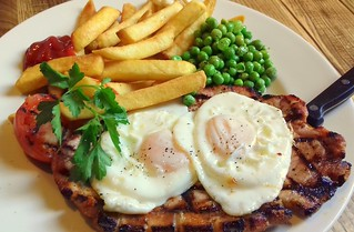 Grilled Gammon, Fried Eggs and Chips