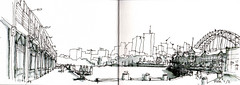 Morning walk Tuesday 17 April (panda1.grafix) Tags: sydney inkdrawing blackandwhitesketch sydneyharbour sydneyharbourbridge lavenderbay pier walshbay dawespoint lunapark