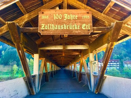 Zollhausbrücke Erl - Wooden bridge over the river Inn near  Erl, Tyrol, Austria