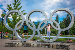 Lori and Tracey having fun with the 2010 Olympic Rings in Whistler.